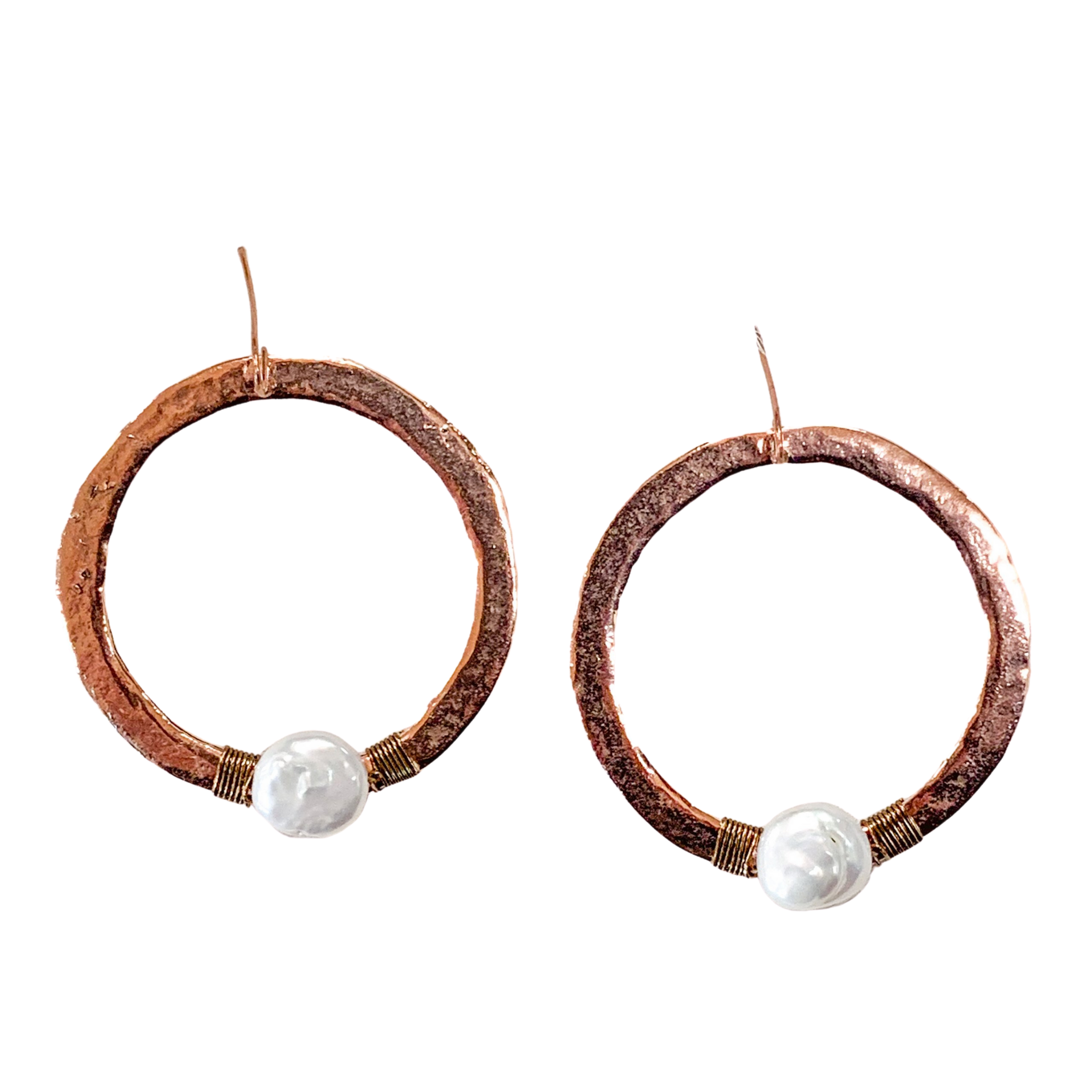 Hammered Copper & Pearl Hoop Earrings