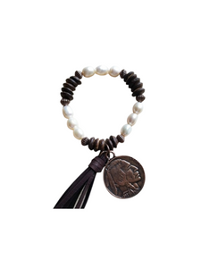 Pearl & Wood Bracelet With Coin & Tassel