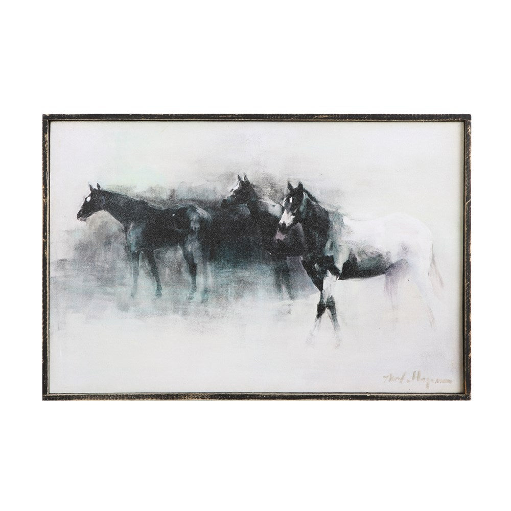 Wood Framed Canvas Horse Wall Decor