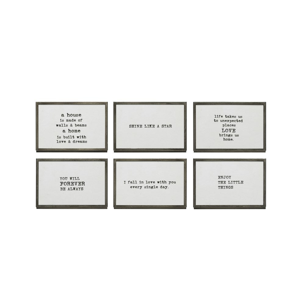 Metal & Glass Frame With Saying, 6 Styles
