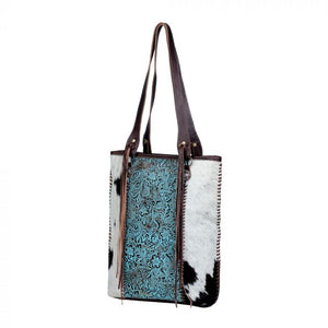 Blue Ripples Leather Hair On Hide Bag