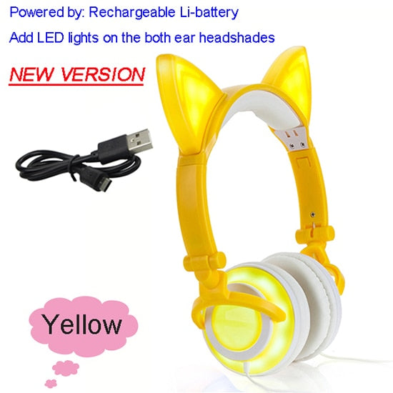 Foldable Flashing Glowing cat ear headphones Gaming Headset
