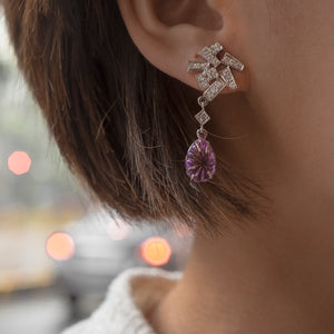 EARRINGS W/ 2 AMETHYST & 40 DIAS
