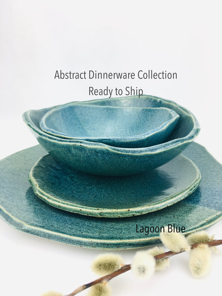 ABSTRACT DINNERWARE COLLECTION ready to ship  in 'Lagoon Beach' - 24 Pieces / 6 Place Settings
