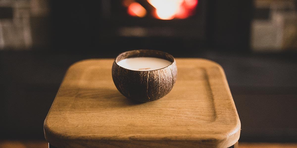 Burning a coconut candle