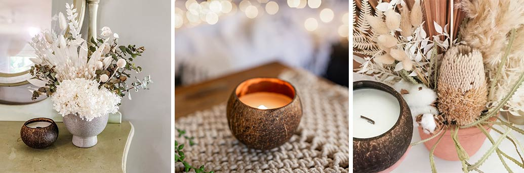 We only use natural soy wax in our coconut candles