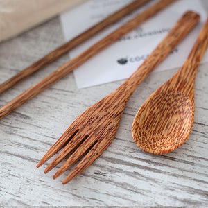Reusable Wood Spoon, Fork and Chopsticks