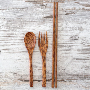 Coconut Wood Spoon, Fork and Chopsticks