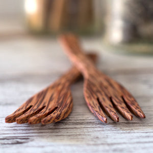 Reusable wood forks