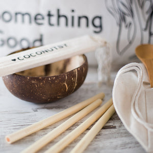 Bamboo travel cutlery and straws