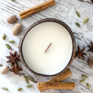 Coconut Candle - Chai with Wood Wick