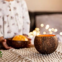 Load image into Gallery viewer, coconut candle burning with soy wax