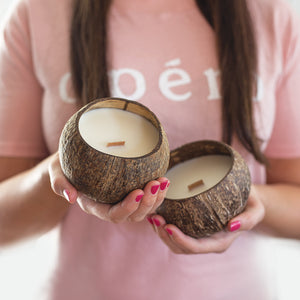 Candles made from real coconut shells