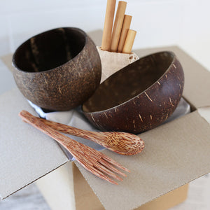 Eco friendly gift set with coconut bowls