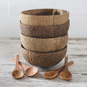Natural Coconut Bowls and Spoons Set