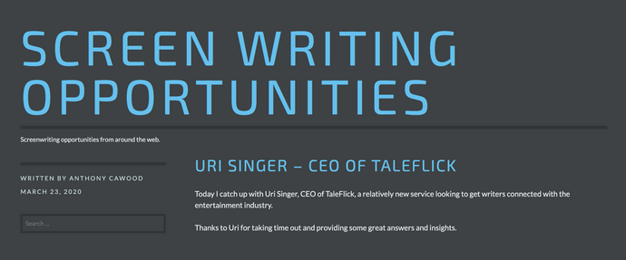 Screenwriting Opportunities: Interview with Uri Singer