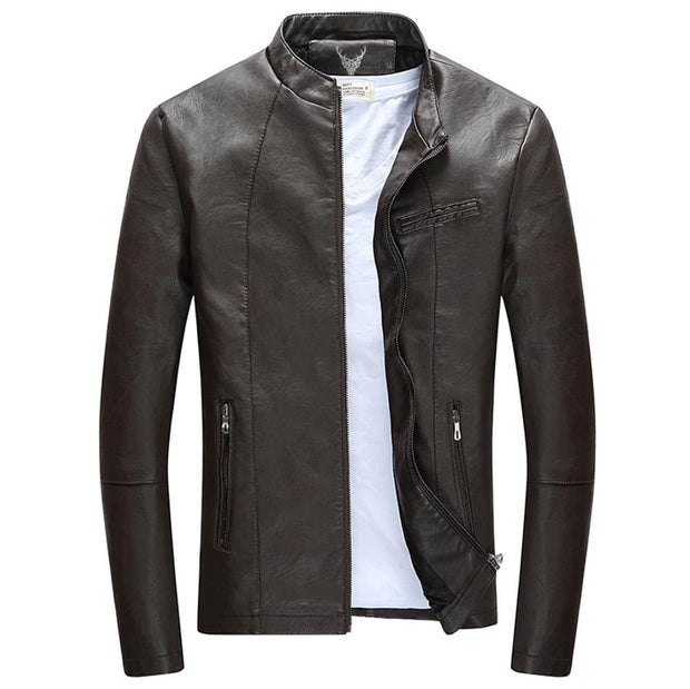Denzell Outwear Slim Winter Leather Jacket Denzell Outwear SaddleBrown XS