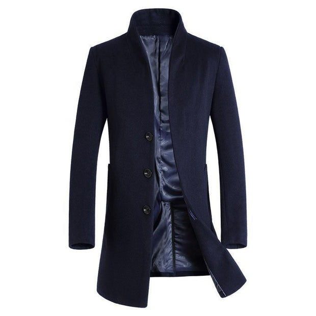 Denzell Outwear Wool Trench Coat Denzell Outwear DarkBlue XS