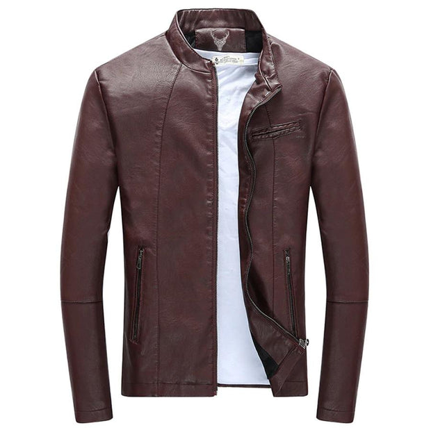Denzell Outwear Slim Winter Leather Jacket Denzell Outwear DarkRed XS