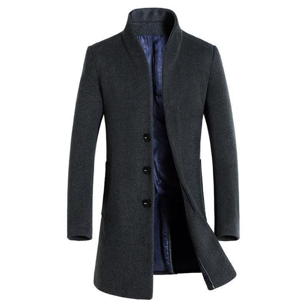 Denzell Outwear Wool Trench Coat Denzell Outwear DimGray XS