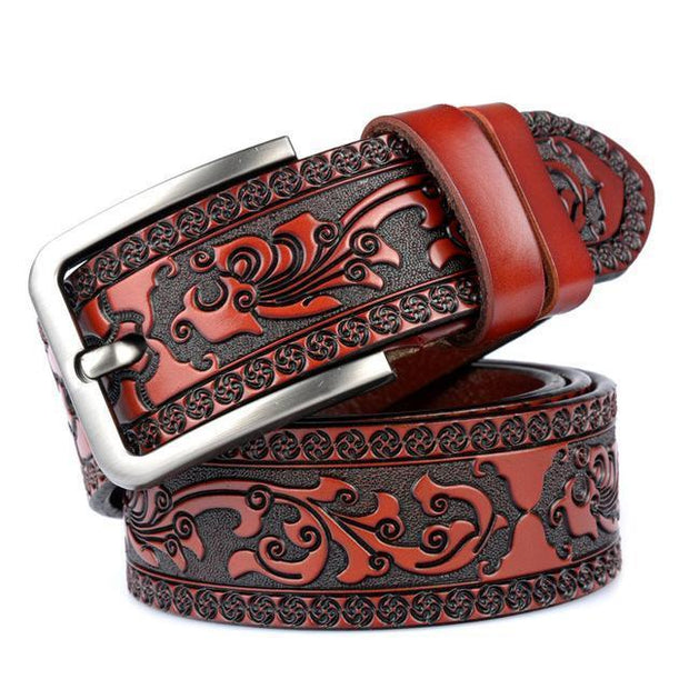 Denzell Outwear Royal Leather Belt Denzell Outwear DarkRed 41inches - 105cm