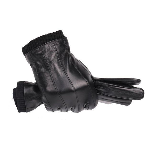 Denzell Outwear Lined Leather Gloves Denzell Outwear Black S/M