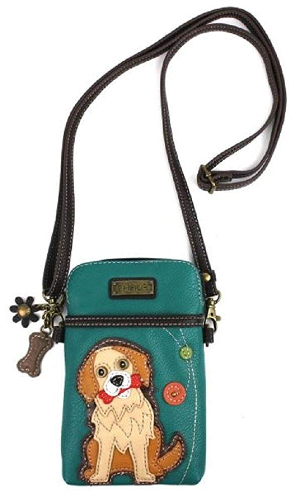 Chala Crossbody Cell Phone Purse - Women PU Leather Multicolor Handbag with Adjustable Strap - Golden Retriever -Turquoise