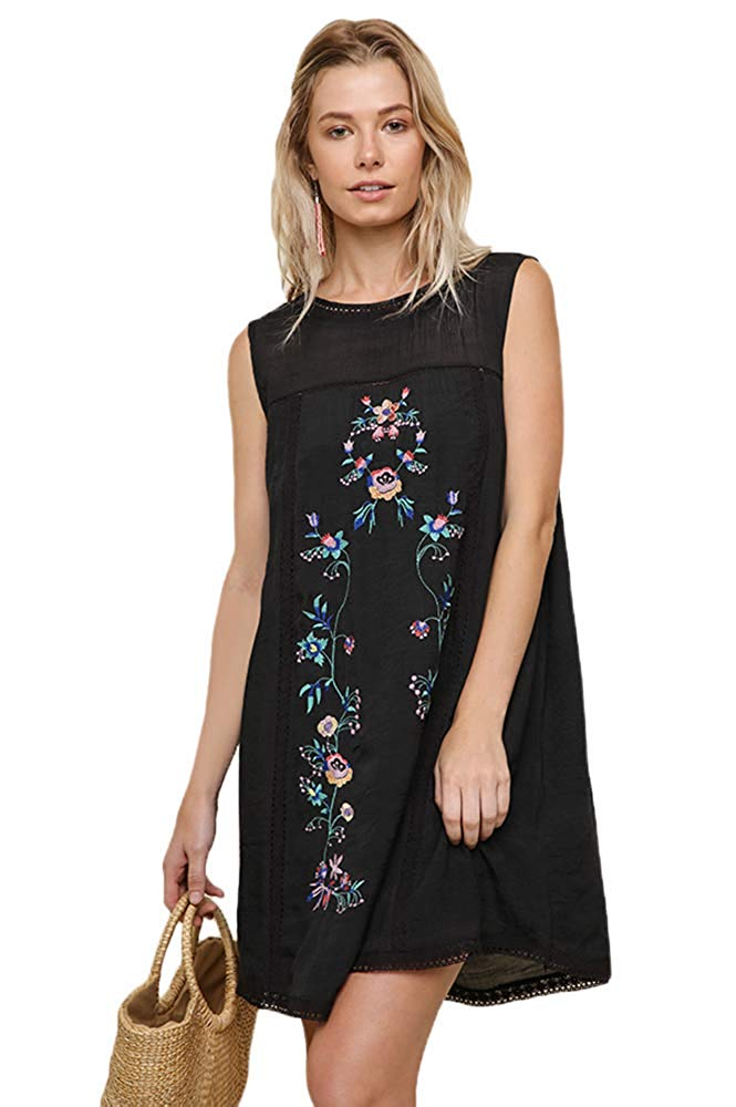 53ee279848f2 ... Umgee Women's Bohemian Embroidered Short Sleeve Dress or Tunic ...