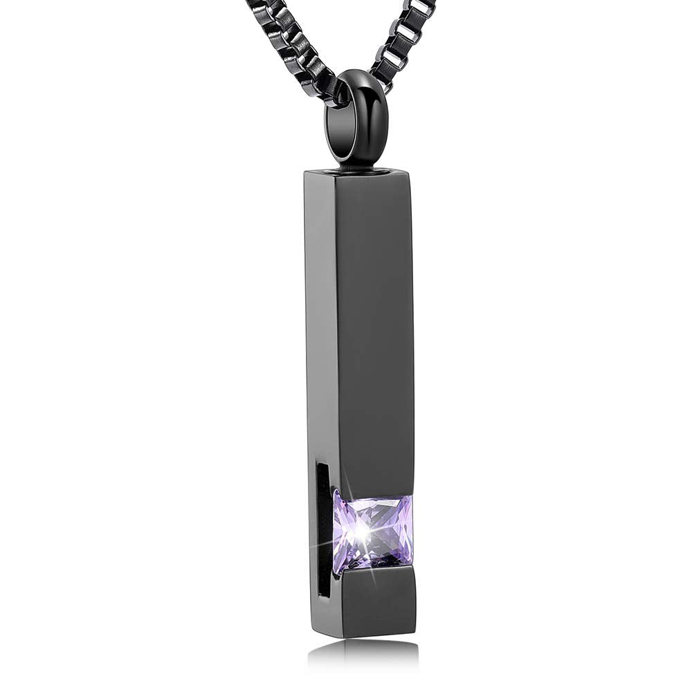 XSMZB Crystal Cremation Urn Jewelry Cube Memorial Ashes Necklace Pendant Keepsake- Black Birthstone Serise