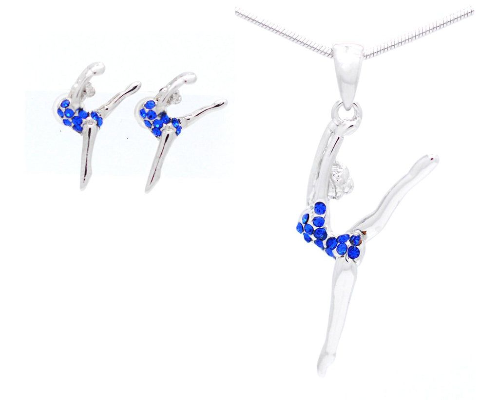 Violet Victoria & Fan Star Gymnast Necklace and Earring Set - Leg UP LEAP Necklace and Earrings
