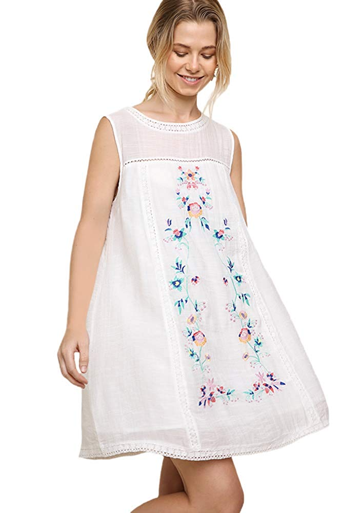 41604c590d2d Umgee Women's Bohemian Embroidered Short Sleeve Dress or Tunic ...
