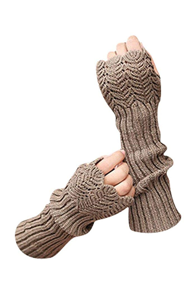 Novawo Women's Scale Design Winter Warm Knitted Long Arm Warmers Gloves Mittens