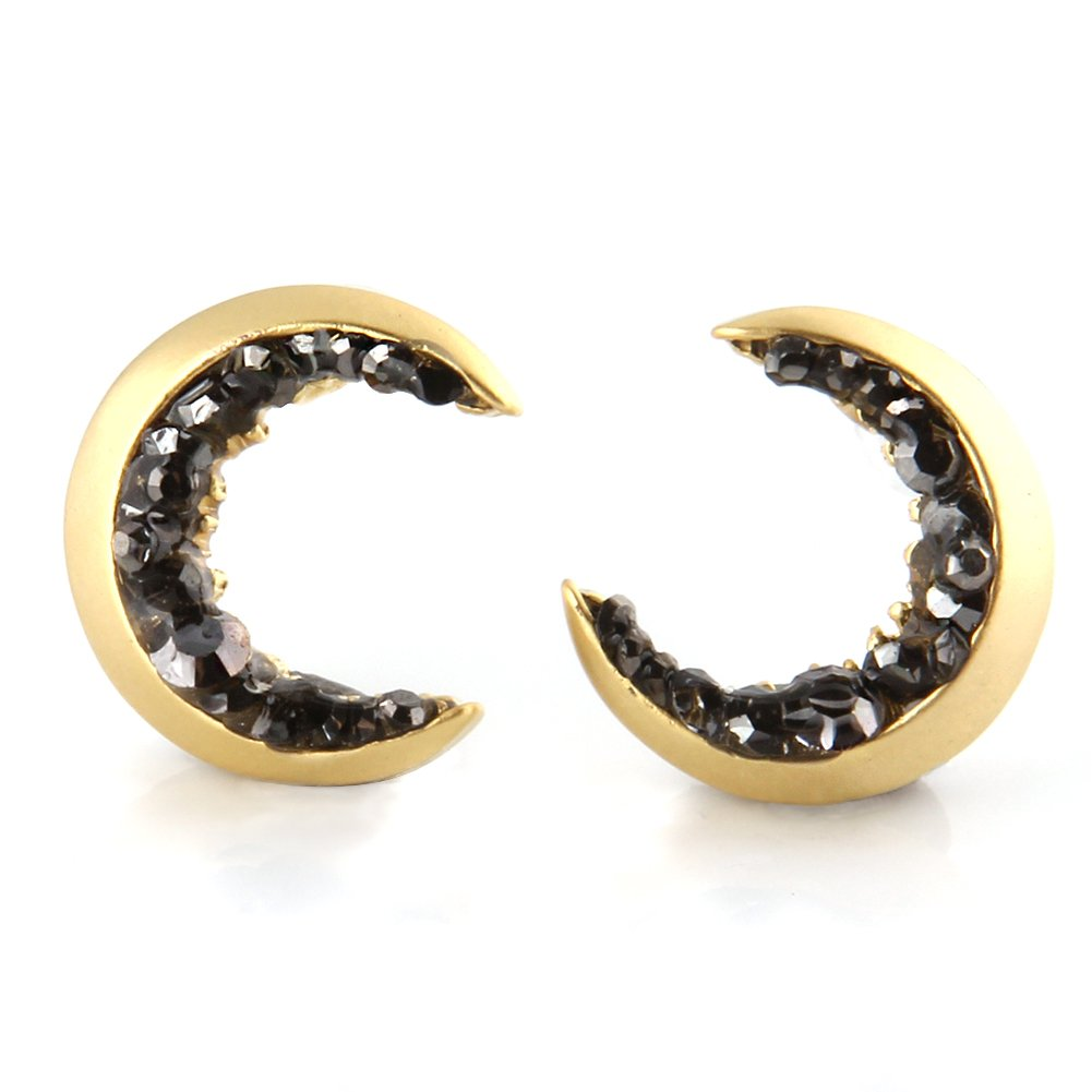 LAONATO Crescent Moon and Black CZ Earrings