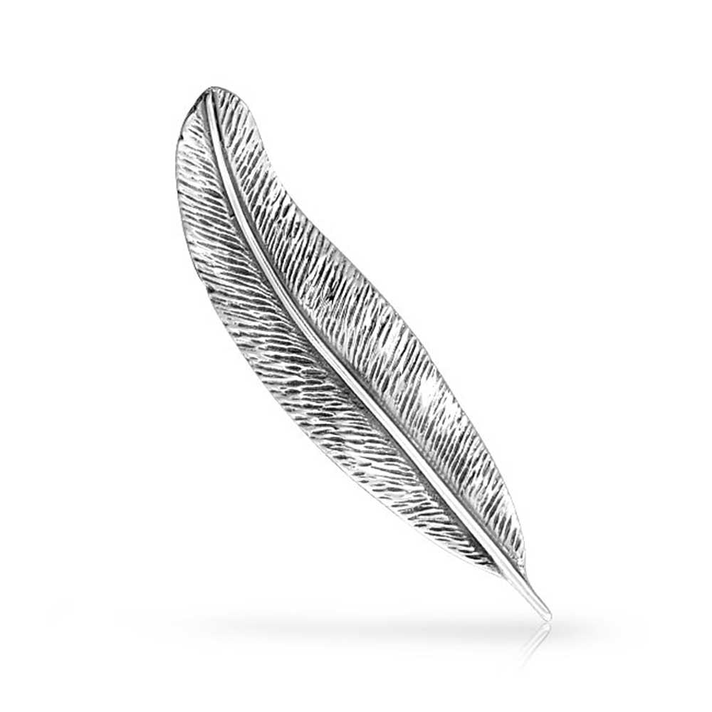 925 Sterling Silver Feather Nature Leaf Brooch Pin