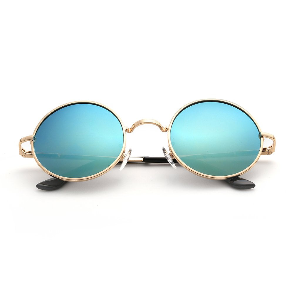 Menton Ezil Unique Blue Mirrored Color Lenes John Sunglasses Polarized for Men Women Glass Driving Outdoor UV400