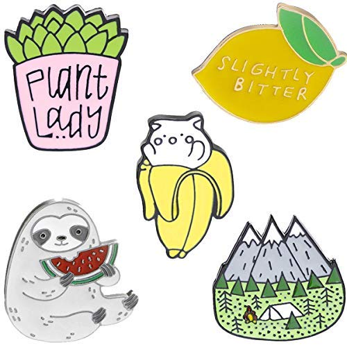 GuassLee Cute Enamel Lapel Pin Set - Cartoon Brooch Pin Badges for Clothes Bags Backpacks