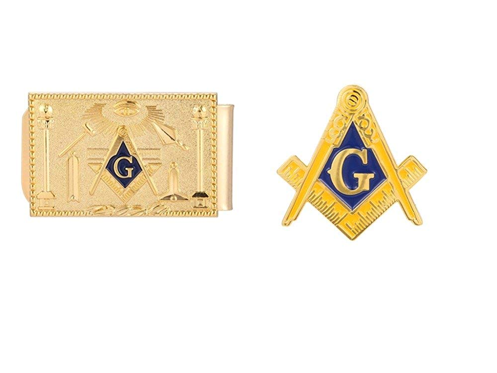 Gudeke Mason Masonic Money Clip and Lapel Pin Set Gold
