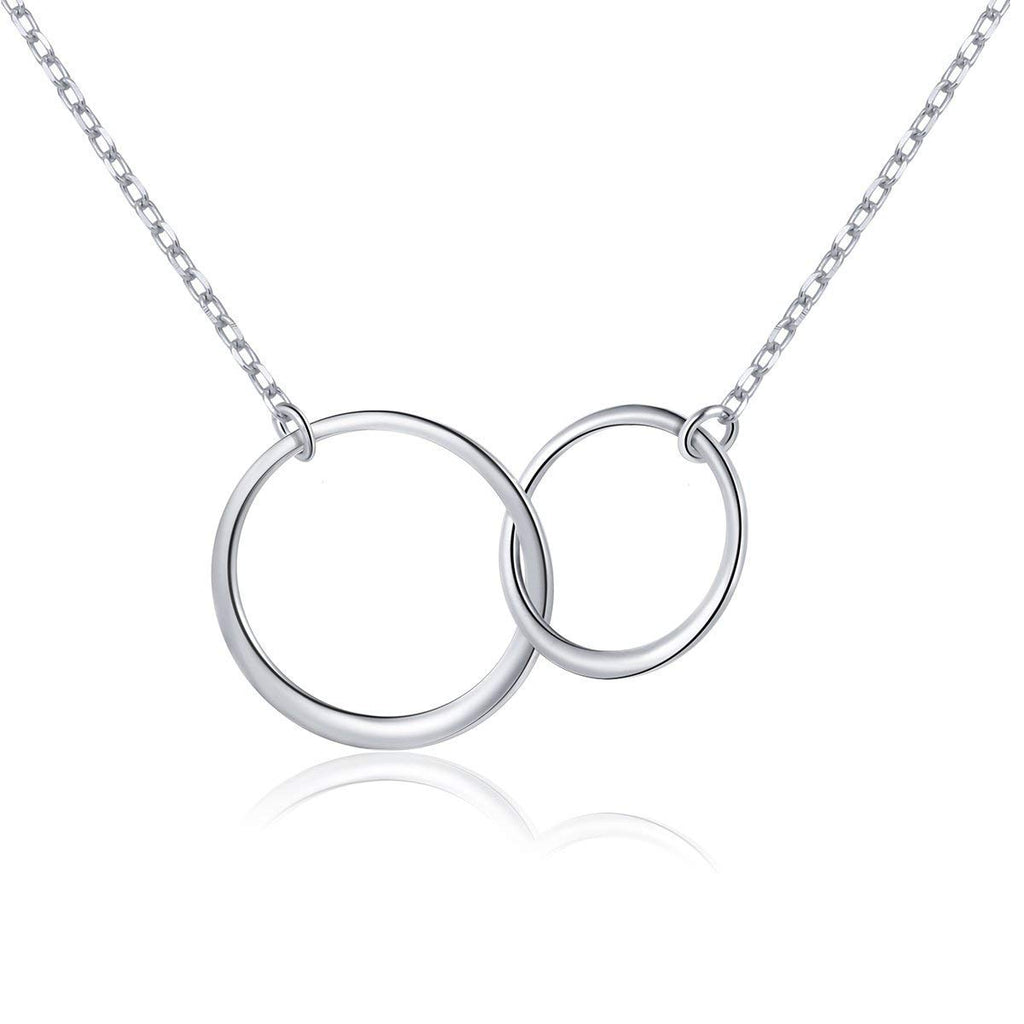 ISAACSONG.DESIGN Sterling Silver Two Interlocking Eternity Round Circle Pendant Necklace, Earring and Ring Minimalist Jewelry Set for Women