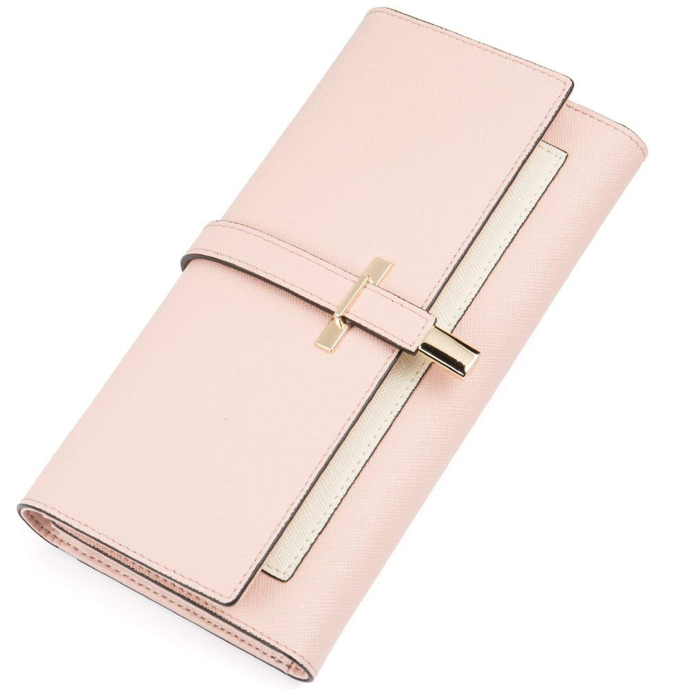 RFID Blocking Wallet for Women Slim Clutch Long Designer Trifold Checkbook Lady Credit Card Holder