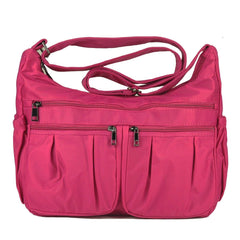 Volcanic Rock Multi Pocket Shoulder Bag Corss-body Purse Waterproof Nylon Travel Handbags for Women