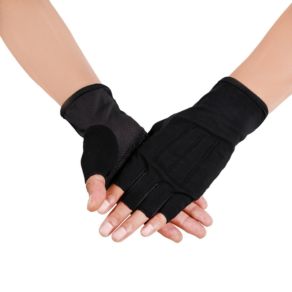 JISEN Men Sunscreen Fingerless Gloves UV Protection Driving Fishing Cotton Mittens