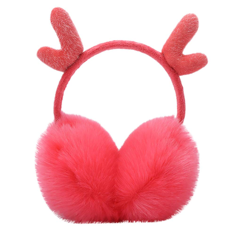 Doublelift Womens Faux Fur Earmuffs Fluffy Antlers Winter Outdoor Ear Warmers Fashion Ear Muff