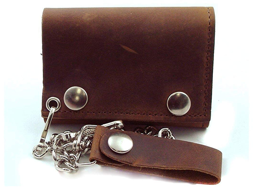 "Distressed Natural Brown Leather Trifold Chain Wallet 4"" Made in USA"