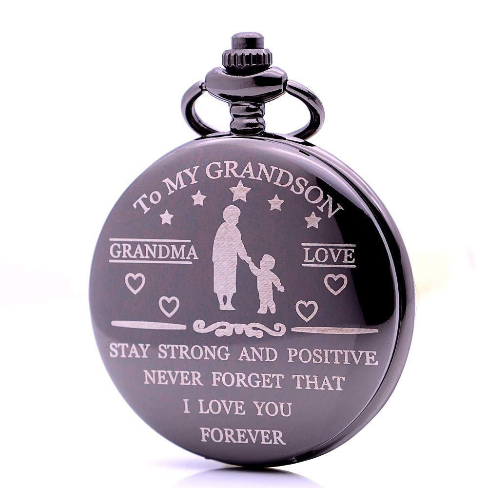 Vintage Black to My Grandson Quartz Pocket Watch with Chain, Boys Pocket Watch Christmas Gift Ideas for Grandson from Grandma