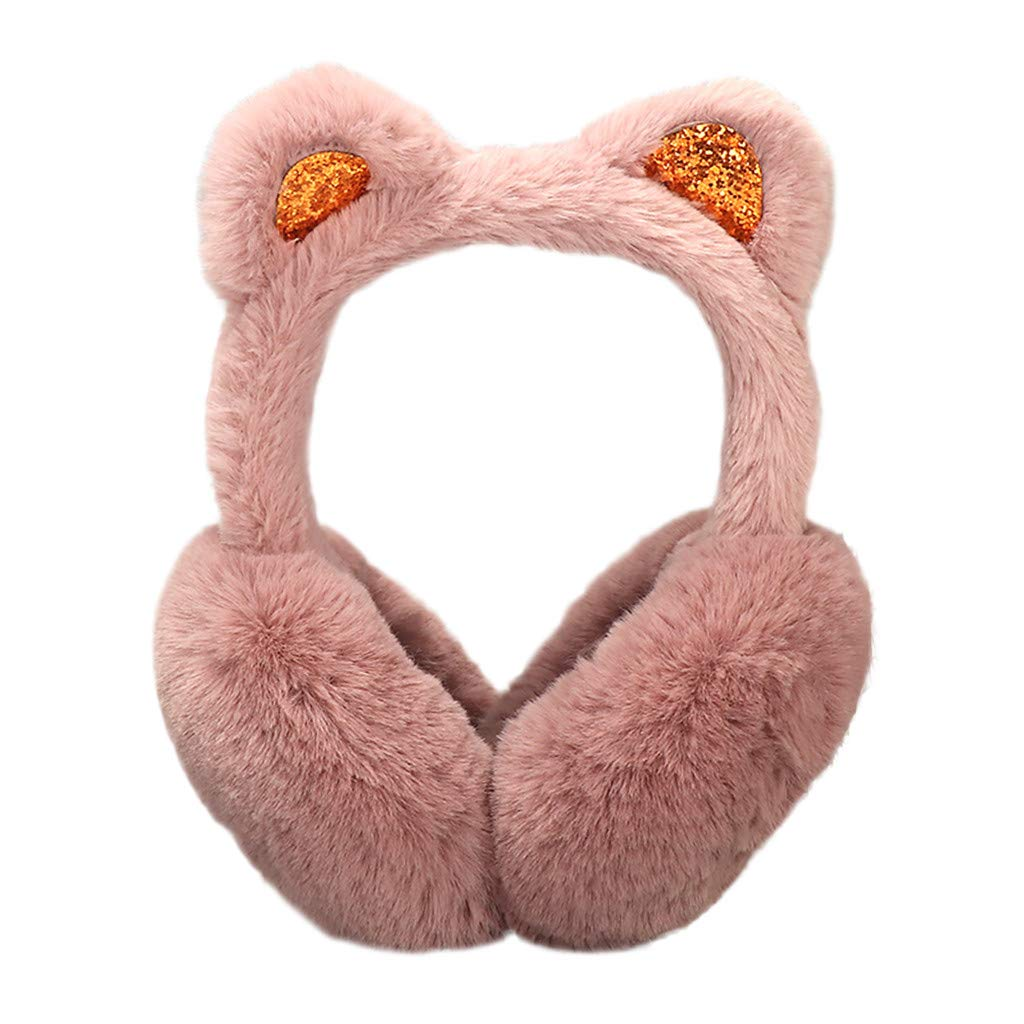NREALY Earmuffs Womens Winter Warm Cartoon Cat Ears Design Windproof Warm Adjustable Ear muffs