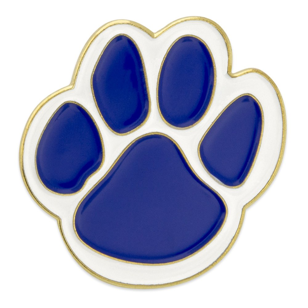 PinMart Blue and White Animal Paw Print School Mascot Enamel Lapel Pin