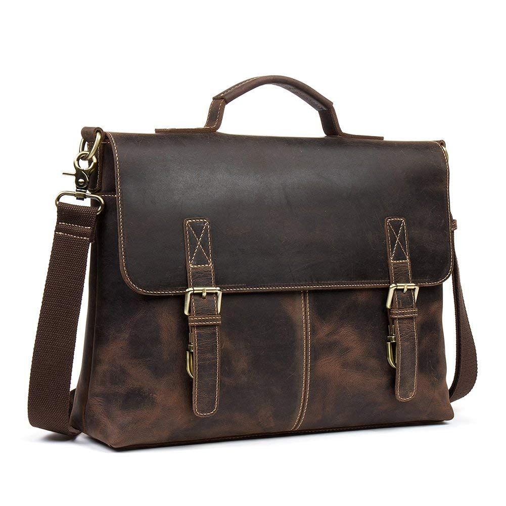 "WESTBRONCO Business Briefcase Best Hunter Leather 16"" Laptop Messenger Bag Retro Office College Travel Bags"