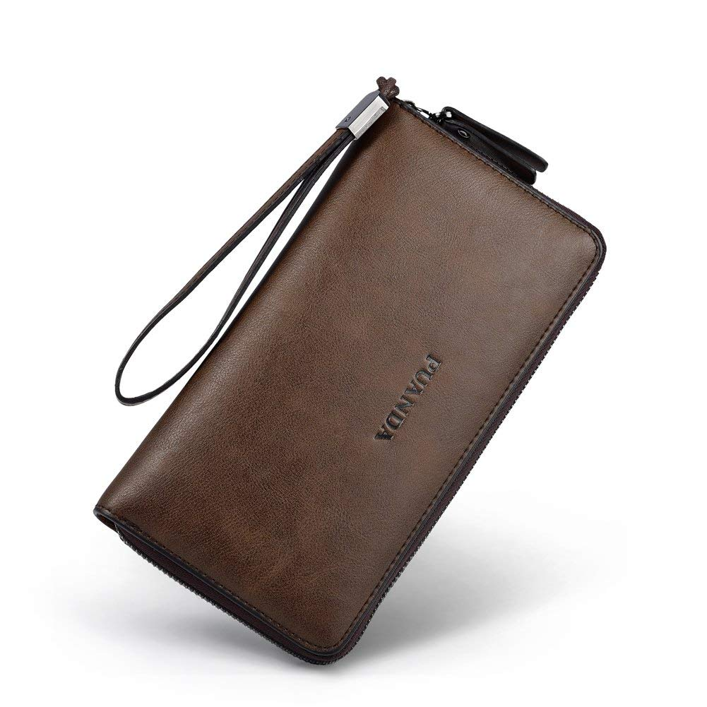 Vbiger Mens Leather Wallet Wristlet Zipper Wallet Handbag Organizer Brown Purse