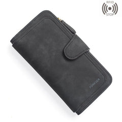 Womens RFID blocking Wallet Soft Leather Clutch Card Holder Zipper Coin Pocket Large Capacity Purse