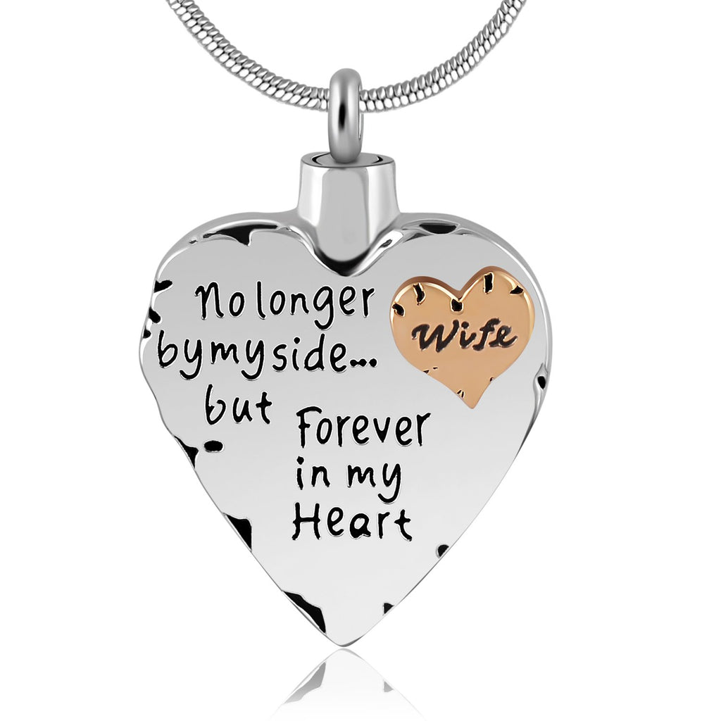 Eternally Loved Unisex No Longer by My Side But Forever in My Heart Dad&Mom Cremation Ashes Urn Pendant Necklace